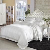 44 White Mulberry Silk Cotton Luxury Wedding Bedding set Ultra Soft 4Pcs King size Jacquard Duvet cover Cotton Bed sheet set