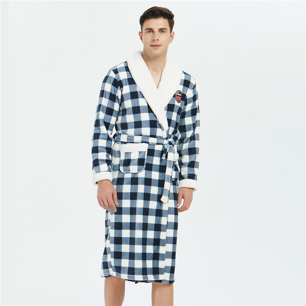 2019 Winter Thicken Negligee Sleepwear Plaid Intimate Lingerie Clothes Coral Fleece Home Clothing For Men Kimono Bathrobe Gown