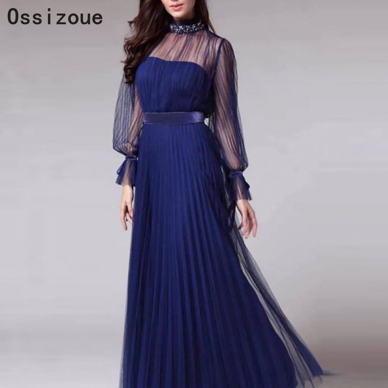 Plus Size Navy Blue Formal Mother Of The Bride Dress Long Sleeves Illusion Neck Women Lady Evening Dress In Stock