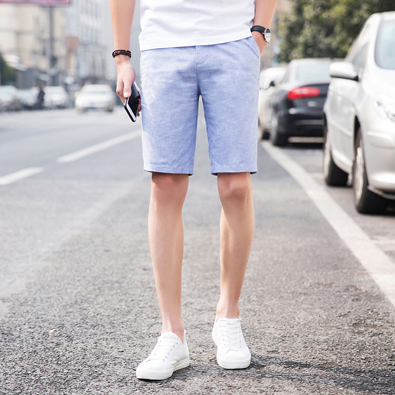 Summer Casual Men Shorts Linen Fashion Cotton Loose Shorts Men Beach With Pockets Streetwear Kleding Vanquish Fitness XX60MS