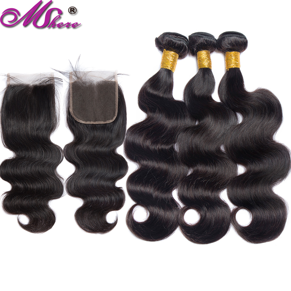 Mshere Body Wave Strands With Closure Strands Of Brazilian Hair With Strands Locks Of Human Hair With Non Remy Closure