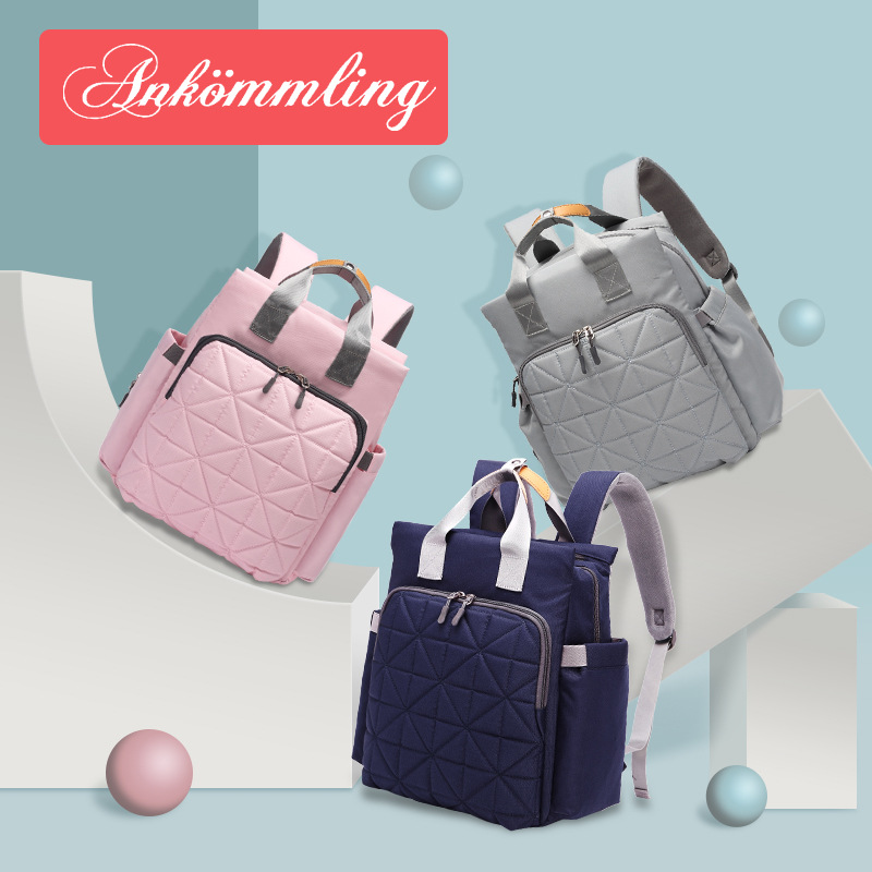 Ankommling Printed Diaper Bag Multi-functional Fashion Baby Backpack Embroidery Waterproof Shoulder Mommy Bag