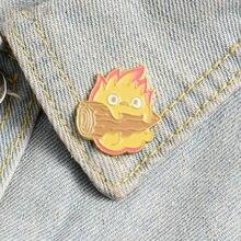 Calcifer esmalte Pin de japonés broches Anime fuego Elf placa para bolsa de solapa hebilla Howl joyería regalo de amigos