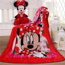 Couverture de couette en peluche Disney pour bébé, Minnie Mouse, drap en flanelle pour enfants, taille 100x140cm