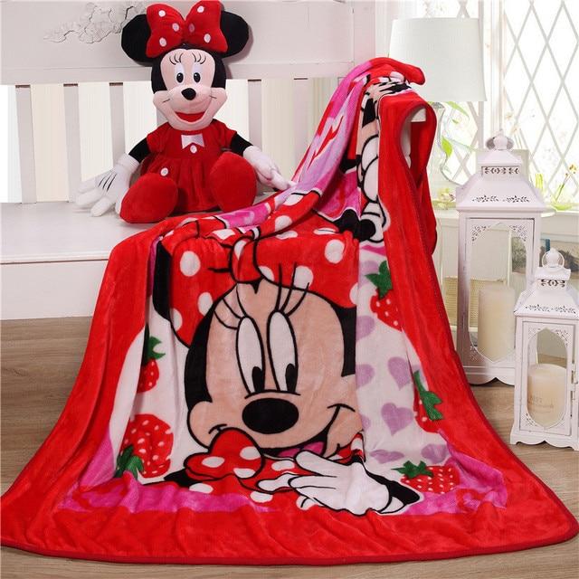 Manta de Minnie Mouse de Disney para bebé, manta de franela, manta cálida de felpa, funda de edredón, regalo para bebé, 100x140cm