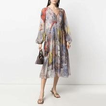 Novo 2021 famoso profundo decote em v floral impressão vestido estilo celebridade drawstring perspectiva vestidos de seda mais tamanho