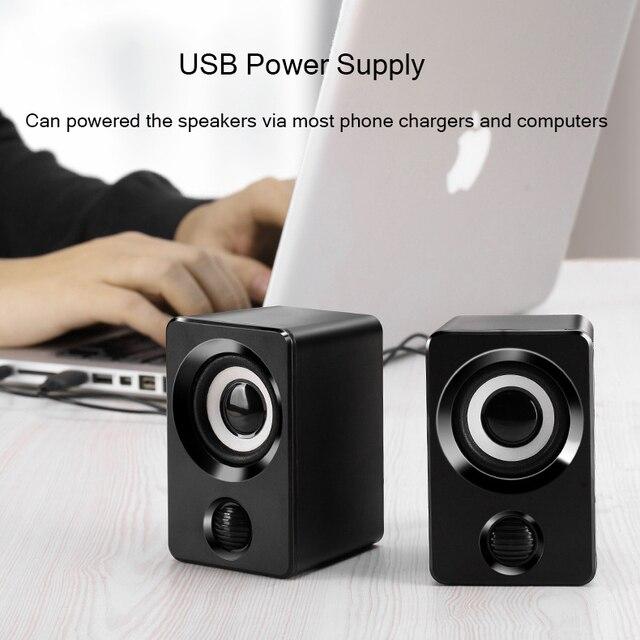 AUX Mini Computer Speakers USB Powered 1.3m Wired 1 Pair Bass Stereo Speakers for Laptop Desktop Phone 3W*2 Powerful Loudspeaker 5