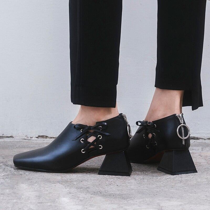 Оригинальная модная обувь из натуральной кожи; женская обувь на шнуровке; Цвет черный, белый; обувь на высоком каблуке; обувь высокого качества с квадратным носком; женская обувь для зрелых женщин - 4