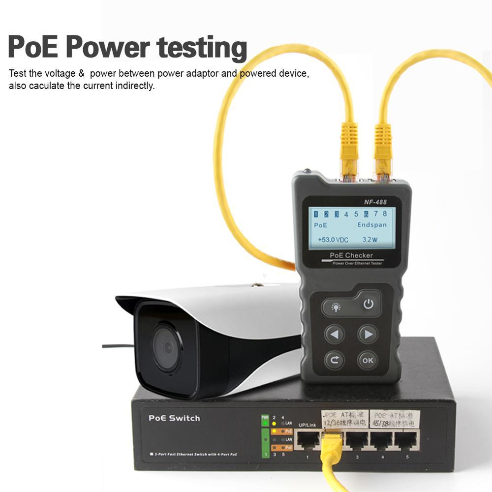 NOYAFA NF-488 d'alimentation PoE Réseau de test PoE Testeur vérificateur Via Ethernet cat5, cat6 Lan testeur outils réseau PoE Switch Tester