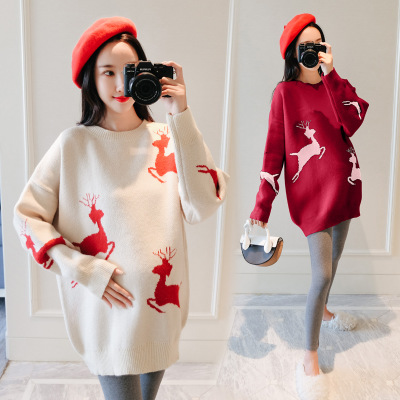 New Autumn And Winter Breastfeeding Clothes Out Autumn And Winter  Knit Bottoming Shirt Feeding Milk Print Deer Sweater Loose