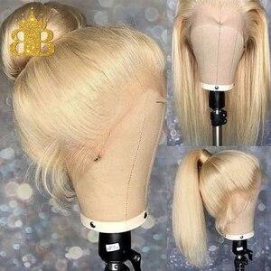 Image 2 - 옹 브르 613 금발 가발 T 레이스 전면 인간의 머리가 발 브라질 레미 스트레이트 헤어 투명 레이스가 발 턱 받이 머리 130% 밀도