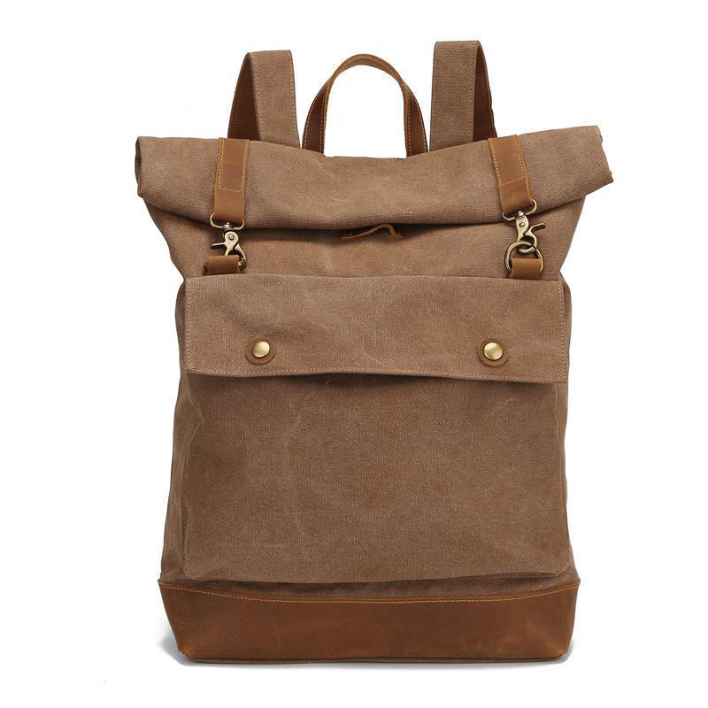 Large Capacity Rucksack Man Travel Bag Laptop Backpack Women Luggage Canvas Leather Shoulder Bags Roll Cover Men's Backpacks