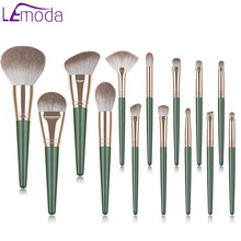 Lemoda Professional Makeup Brushes Set 14pcs Green Eyeshadow Blending Powder Foundation Eyebrow Brushes Face Eye Cosmetic Tools