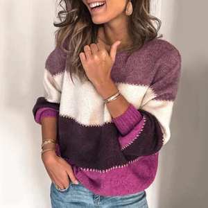 Sweater Loose Knit Pullover Jersey Mujer Patchwork Pull Femme Long-Sleeve Autumn Winter