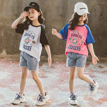 2020 sommer Baseball trainingsanzüge baby mädchen Kleidung lose hip hop T Shirt + Shorts jeans hose Teenager 3 4 5 6 7 8 9 10 11 12 jahr(China)