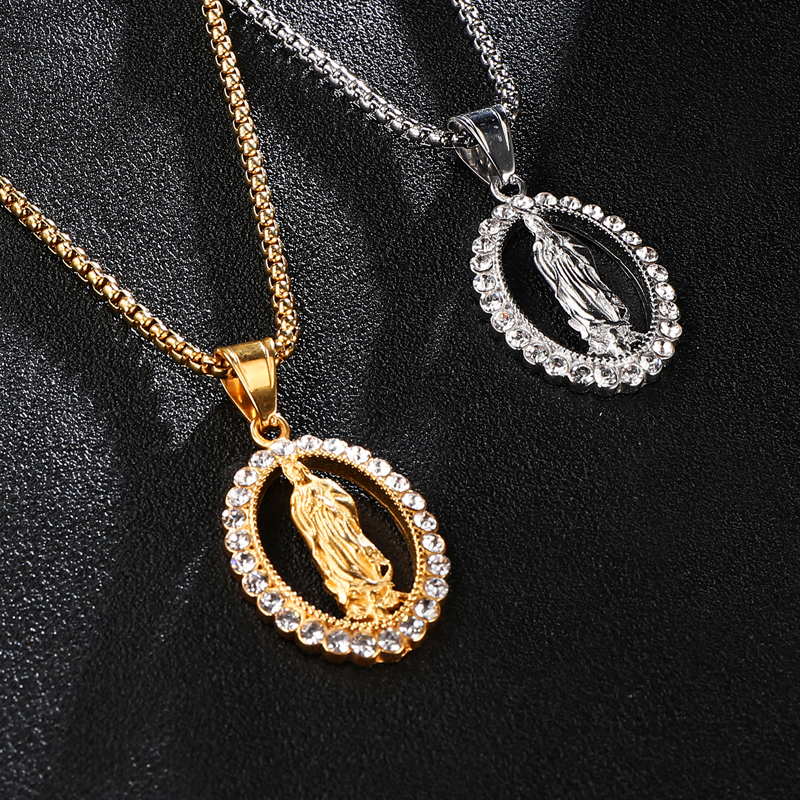 US7 Virgin Mary Maria Pendant Necklace Hip Hop Iced Out Pendants for Men Jewelry Gifts