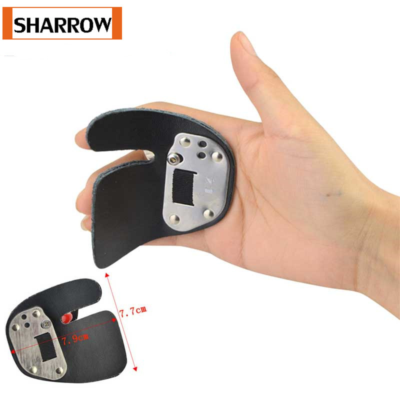 Adjustable Archery Thumb Ring Leather Finger Protector Tab Hunting Recurve Bow