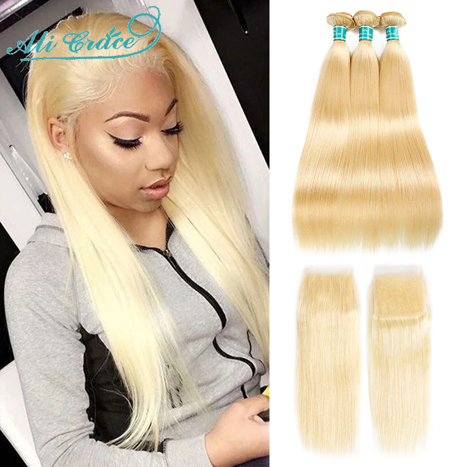 Tissage en lot brésilien Remy 613 naturel – Ali Grace Hair, cheveux lisses, blond miel 613, avec Closure