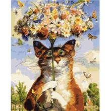Frame Umbrella With Cat DIY Painting By Numbers Digital Acrylic Picture Nordic Oil Wall Posters For Living Room Gift