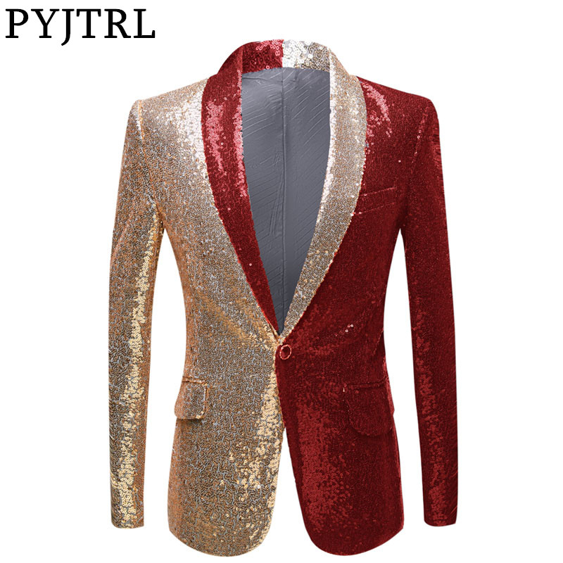 PYJTRL New Men Half Colors Gold Red Black Sequins Slim Fit Blazers Night Club Singers Sequin Suit Jacket Shawl Lapel Party Wear