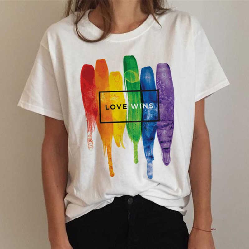 Áo Thun Nữ Cao Cấp LGBT Áo Đồng Tính Niềm Tự Hào Áo Đồng Tính Nữ Rainbow Áo Thun Bông Tai Kẹp Áo Thun Ullzang Ngộ Nghĩnh In 90 áo Quần Áo