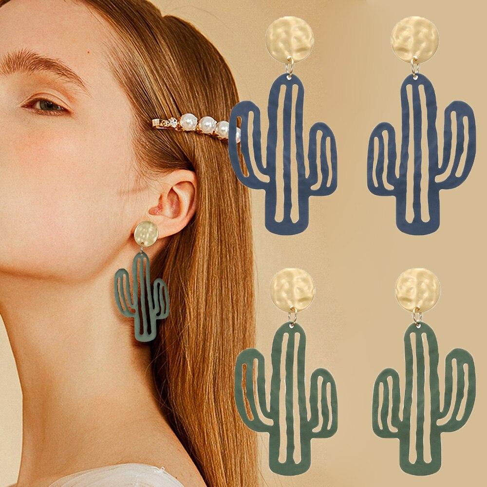 1 Pair Cute Korean Cactus Pendant Earrings Women Long Dangle Statement Earrings Female Jewelry