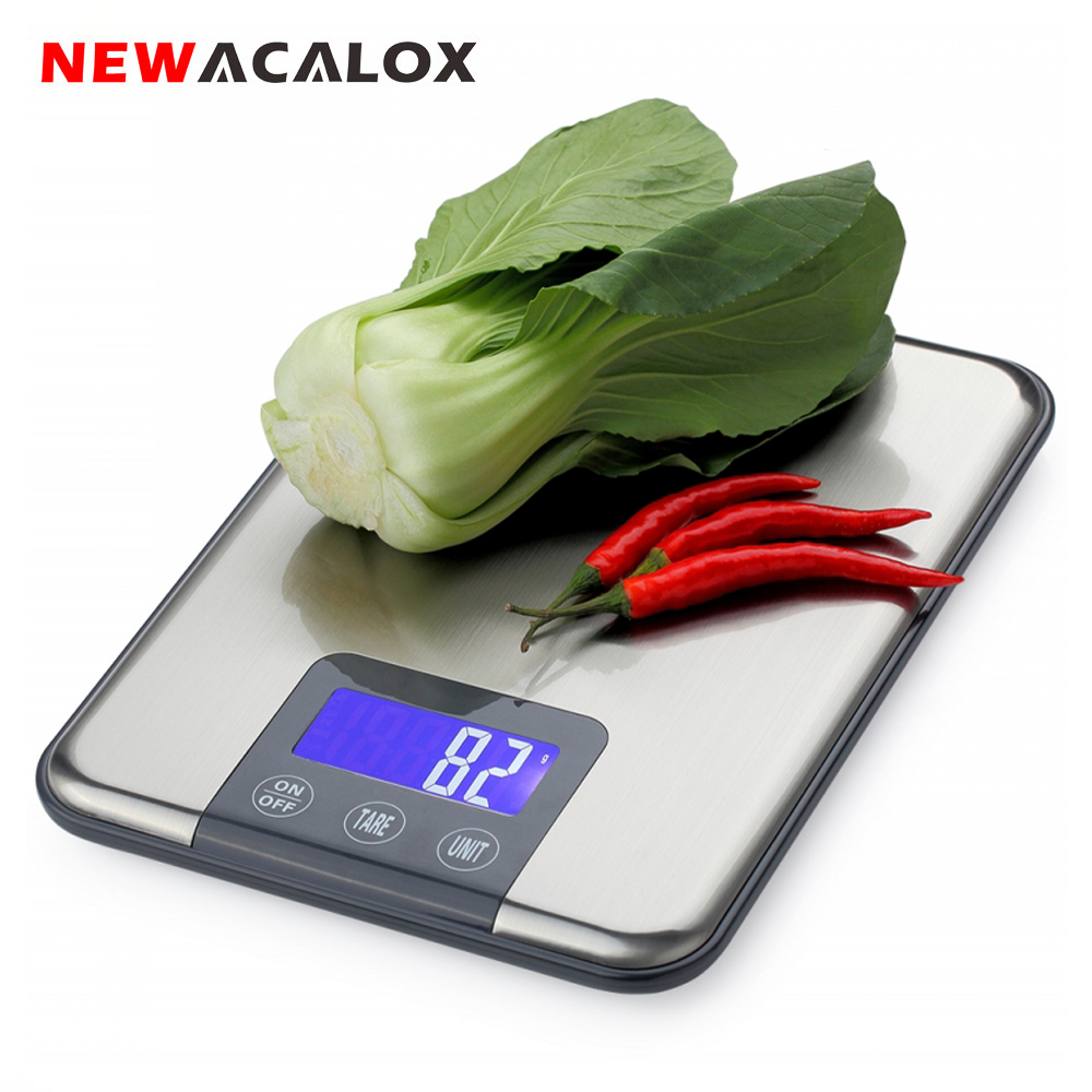NEWACALOX Balance de Cuisine numérique 15KG x 1g protéine alimentaire Die Postal Balance de poisson Cuisine Lcd électronique pesage santé balances