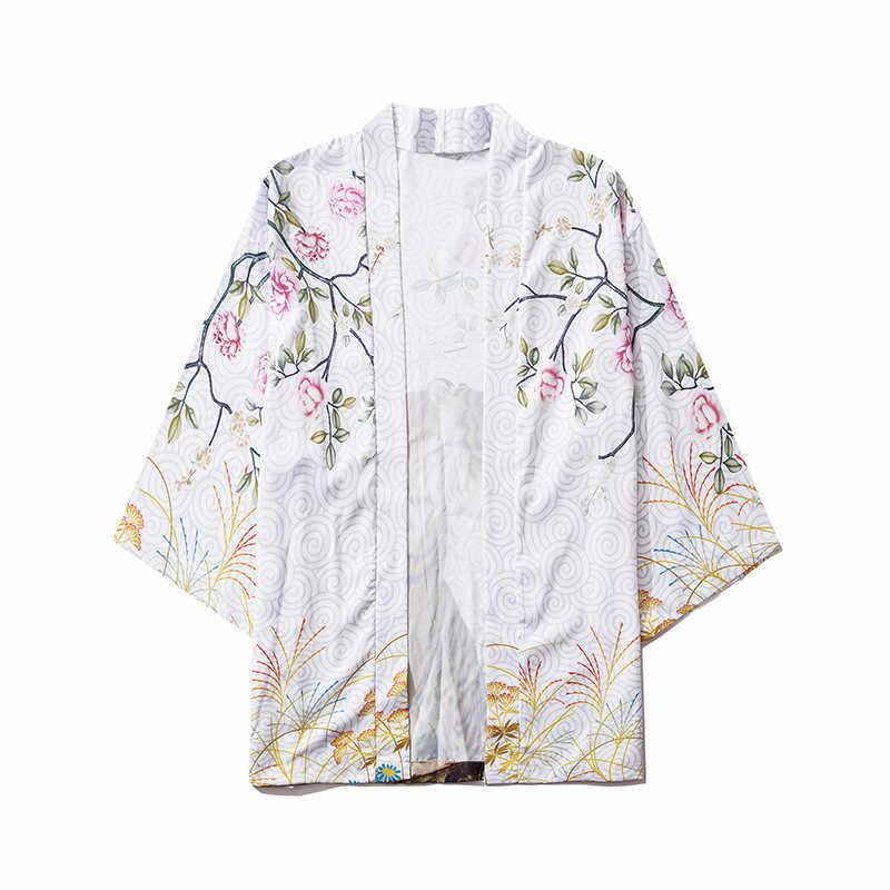 יפן סגנון אנימה טייגר מודפס שחור לבן דק קימונו גברים יפני Streetwear Oversize Losse מזדמן מעילי הלבשה עליונה