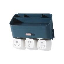 Настенная подставка для зубных щеток для ванной комнаты, монтируемая стойка для зубных щеток, стойка для хранения, милая многофункциональная зубная щетка, держатель 4059