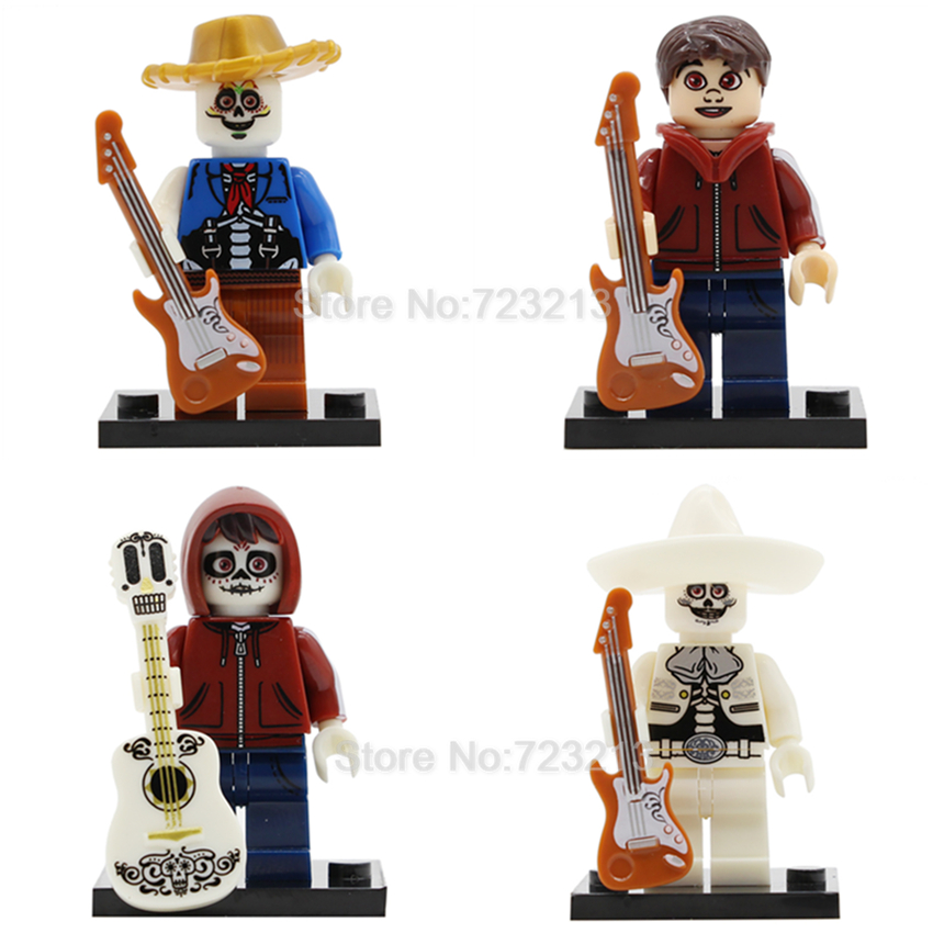 4pcs/lot Mexico Movie Coco Hector Rivera Miguel Cartoon Figure Set Guitar Cartoon Model Building Blocks Kits Brick Toys Legoing