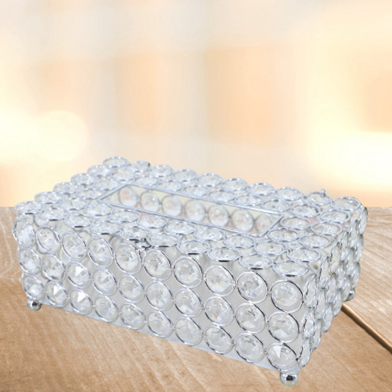 Cristal boîte à mouchoirs Simple maison salon Table basse tiroirs bureau serviette boîte de rangement créatif voiture salon