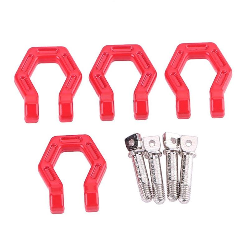 4Pcs/set Red Trailer Hook Bumper D-ring For 1/10 RC Crawler Traxxas TRX4 Axial SCX10 Trailer Buckle RC Rock Crawler Bumper