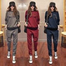S 6XL женская спортивная одежда спортивные костюмы весна 2020  осень зима повседневная плюс бархат Толстая Толстовка + штаны комплекты для женщин плюс размер