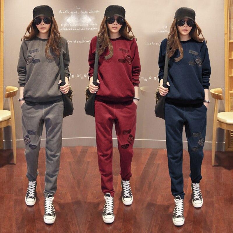 S-6XL Women's Sportswear Tracksuits Spring 2019 Autumn Winter Casual Plus Velvet Thick Sweatshirt + Pants Sets Female Plus Size
