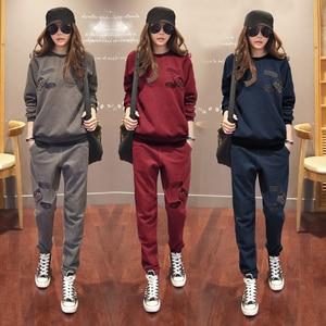 Image 1 - S 6XL Womens Sportswear Tracksuits Spring 2020 Autumn Winter Casual Plus Velvet Thick Sweatshirt + Pants Sets Female Plus Size