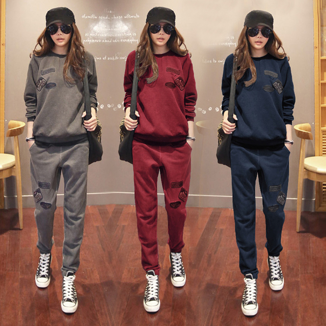 S 6XL Womens Sportswear Tracksuits Spring 2020 Autumn Winter Casual Plus Velvet Thick Sweatshirt + Pants Sets Female Plus Size