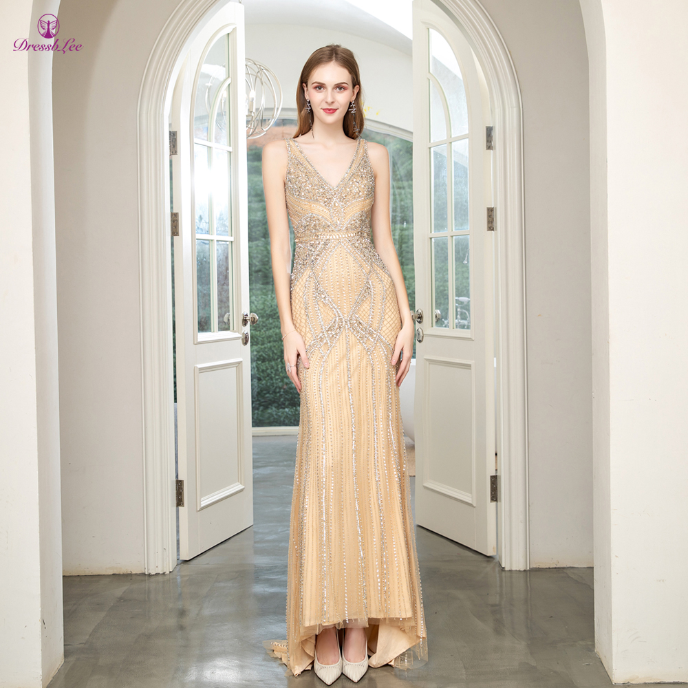 Robe-de-soiree Dubai Golden Mermaid Prom Dress Full Beaded Crystal Sparkly Long Prom Dresses Spaghetti Strap Formal Party Gown