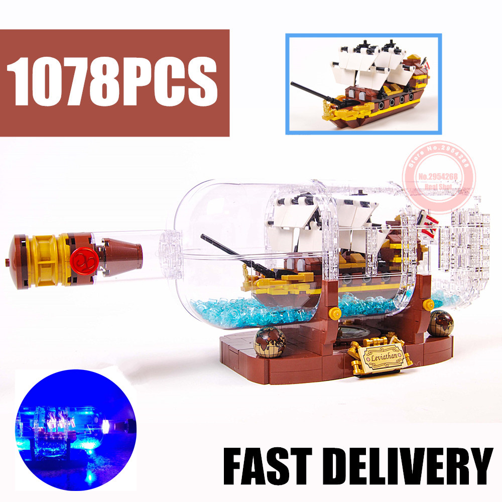 New LED Light Idea Ship Boat In A Bottle Fit Pirates Technic Building Blocks Bricks Toys <font><b>21313</b></font> Children Kid Gift Xmas image