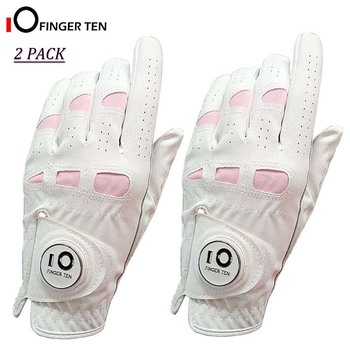 2 Pack Cabretta Leather White Soft Womens Golf Gloves with Ball Marker Left Right Hand Extra Grip Ladies Girls Sizes S M L XL