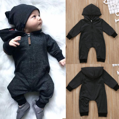 Warm, Zippered, Cotton Long Sleeved Hooded Jumpsuit  1