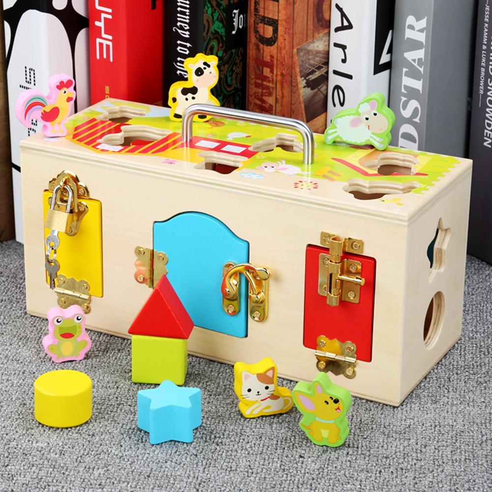 Animal Lock Box Fun Animal Matching Game Montessori Kindergarten Teaching Tool Shape Pairing Building Block Toys Color Box