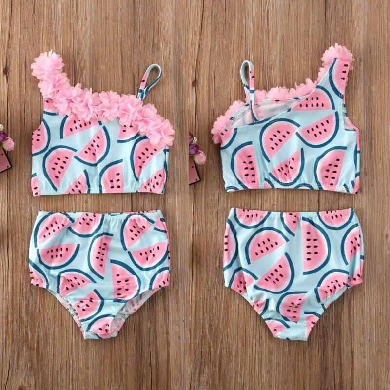 CANIS-maillot de bain d'été pour bébés filles   Motif floral pastèque, Patchwork, costume de bain pour enfants