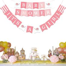 It's A Boy / Girl Elephant Banner Baby Shower Bunting Christening Garland for Gender Reveal Party Decorations Baby Boy Girl oh baby oh girl oh boy banner sign banner banner baby shower decorations girl boy unisex baby shower bunting suplies