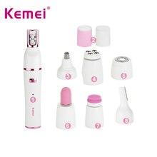 Female epilator Kemei 7 in 1 USB rechargeable face leg underarm bikini triangle body arm epilator hair removal depilation