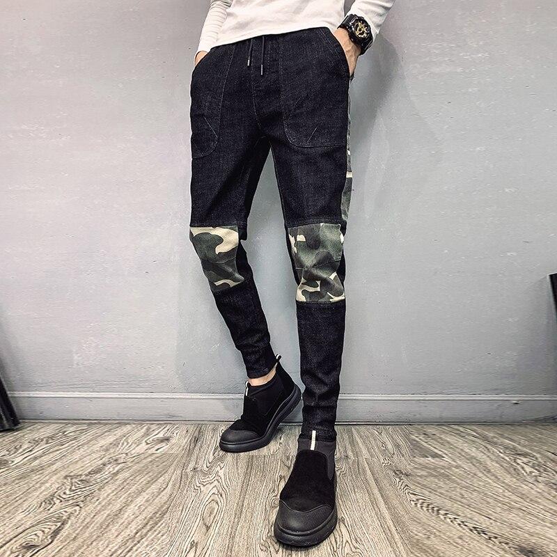 Camo   Jeans   Men Slim Fashion Washed Contrast Casual Drawstring Denim Pants Man Streetwear Hip Hop   Jean   Trousers Male Clothes