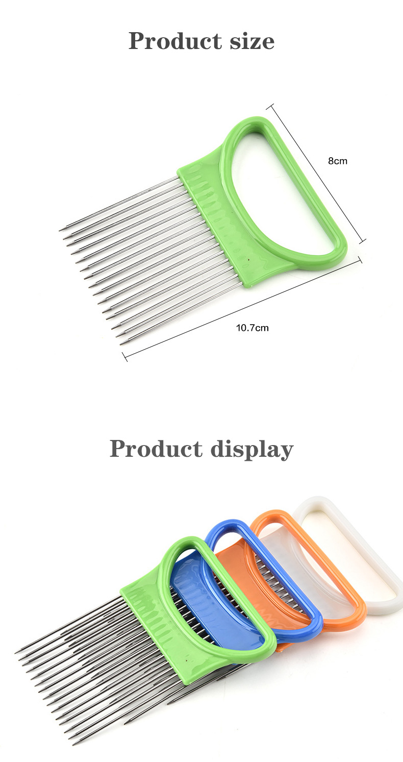 Stainless steel onion cutter multi-function steel-plastic vegetable slicer tomato shredder metal meat needle kitchen accessories