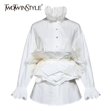 TWOTWINSTYLE Vinatge Patchwork Women blouse Turtleneck Flare Long Sleeve High Waist Tunic Ruffles