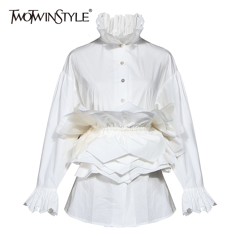 TWOTWINSTYLE Vinatge Patchwork Women Blouse Turtleneck Flare Long Sleeve High Waist Tunic Ruffles Shirts Female Clothing Fashion