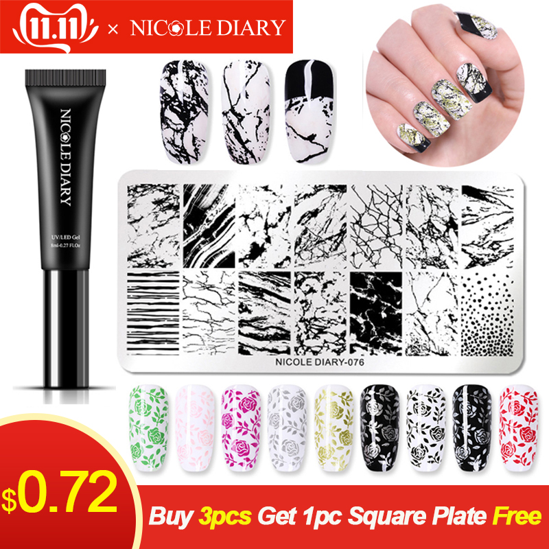 NICOLE DIARY 8ml Gel Polish Nail Stamping Colorful Lacquer Soak Off Varnish UV for Art Plate