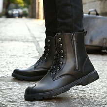 High Quality Leather Ankle Boots Men Fashion Waterproof Man Boots Autumn Winter High Top Outdoor Working Shoes Boots Schoenen цена 2017